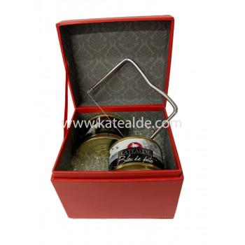 Caja roja: 1 Bloc oca de 130gr, 1Bloc de Pato de 130gr y 1 Lira de corte-lotes-de-regalo-katealde-comprarenred.com